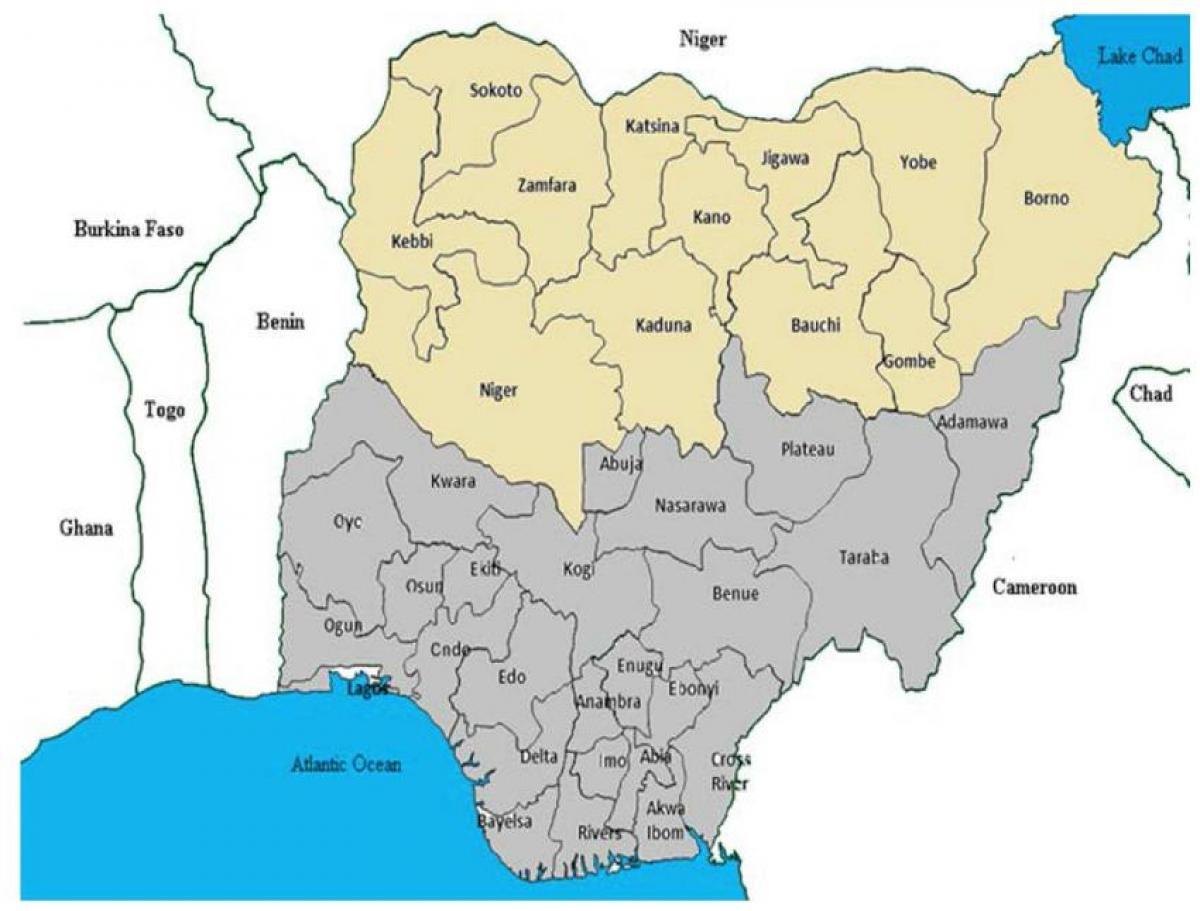 Nordur Nigeriu Kort Kort Af Nordur Nigeriu Segir Vestur Afriku